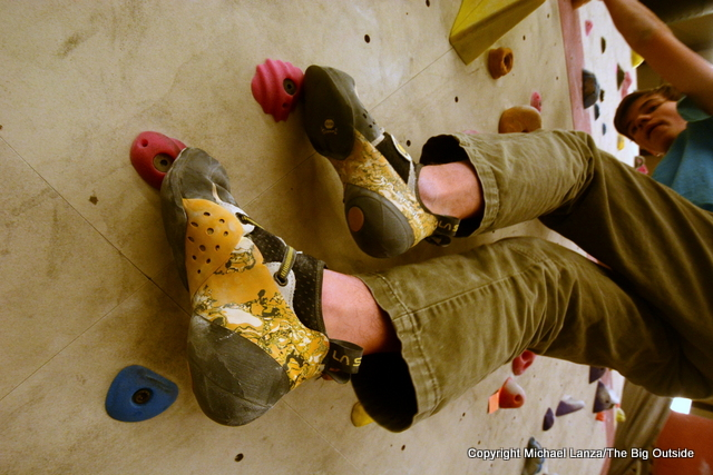 La Sportiva Solution climbing shoes.