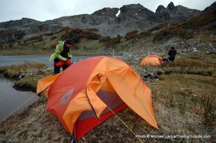 Campsite in Lagunas Chevallay, on the Dientes Circuit.
