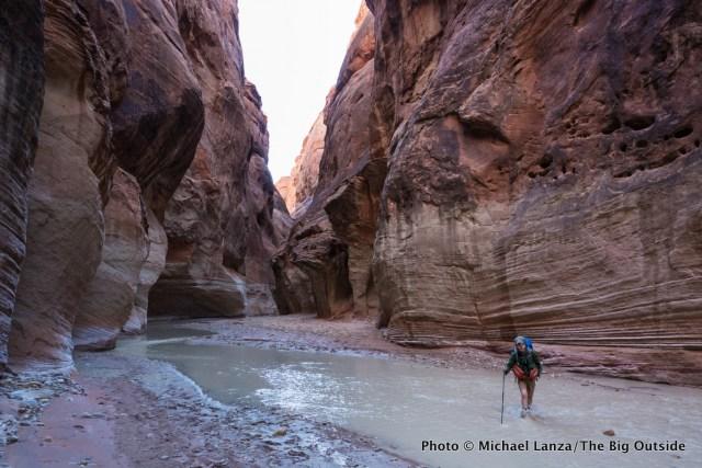 A backpacker in Paria Canyon in Utah and Arizona.