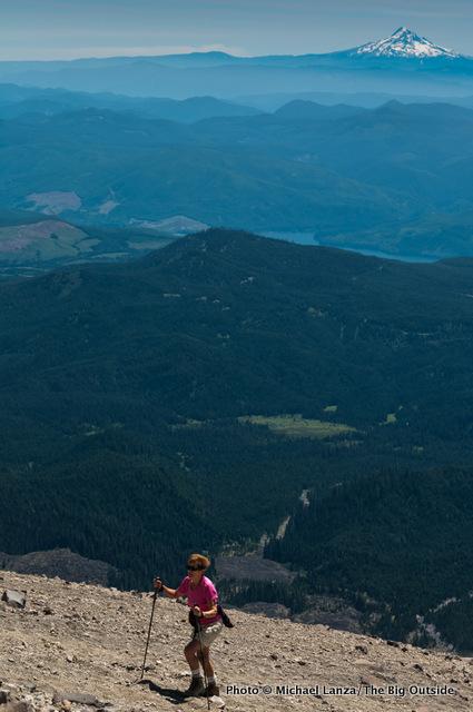A hiker climbing Monitor Ridge on Mount St. Helens.