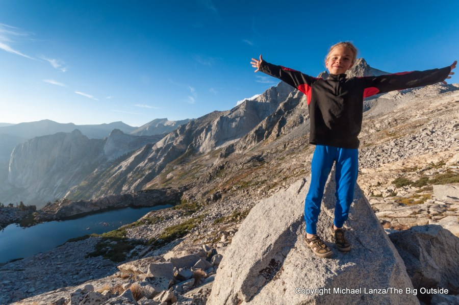 A young girl hiking in Sequoia National Park.