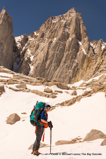 Teenage climber backpacking to high camp below California's Mount Whitney.
