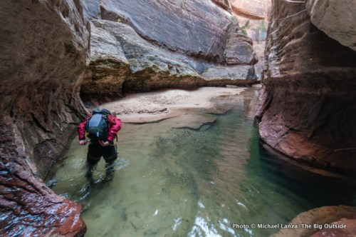 A hiker wading a pool in the Subway, Zion National Park.