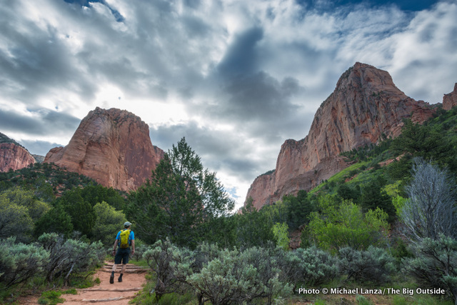 A hiker on the Taylor Creek Trail, Zion National Park.