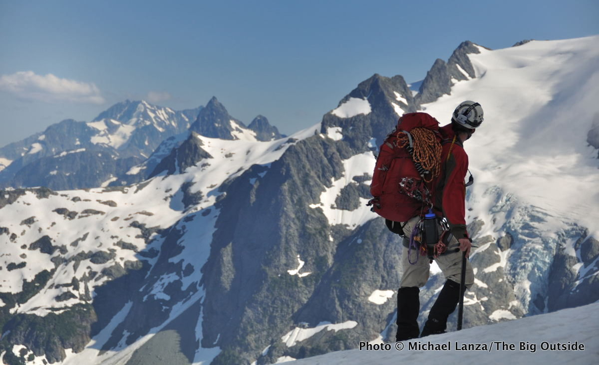 A climber on the Ptarmigan Traverse in Washington's North Cascades.