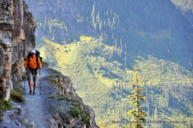 A hiker on the Highline Trail in Glacier National Park.