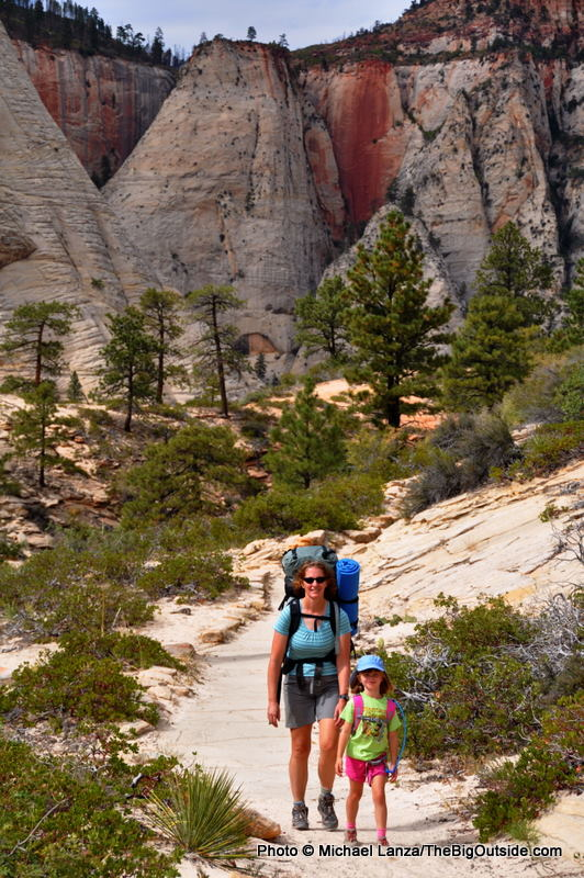 Mother and young daughter backpacking the West Rim Trail, Zion National Park.