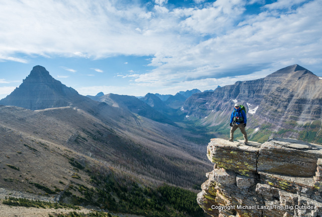 Michael Lanza of The Big Outside backpacking in Glacier National Park.