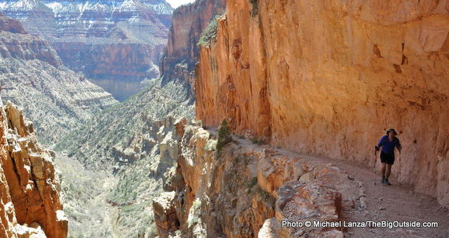 A hiker on the North Kaibab Trail in Grand Canyon National Park.