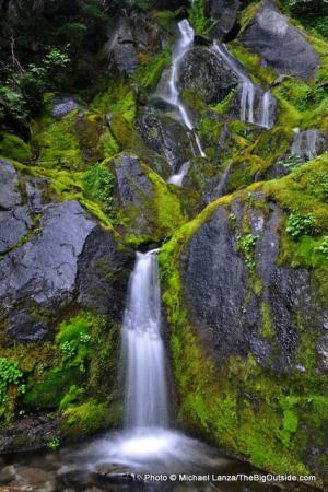 A waterfall along the Wonderland Trail in Mount Rainier National Park.