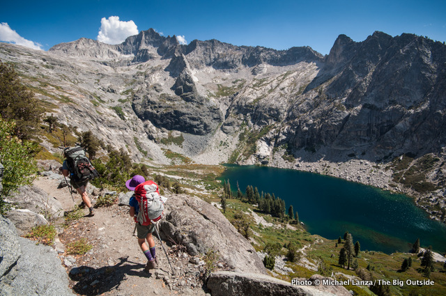Backpackers on the High Sierra Trail above Hamilton Lakes in Sequoia National Park.