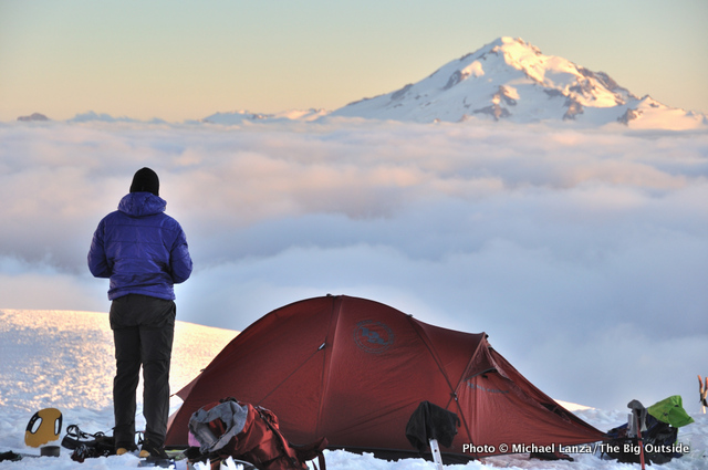 Staying warm in camp on the Dome Glacier in the Glacier Peak Wilderness.