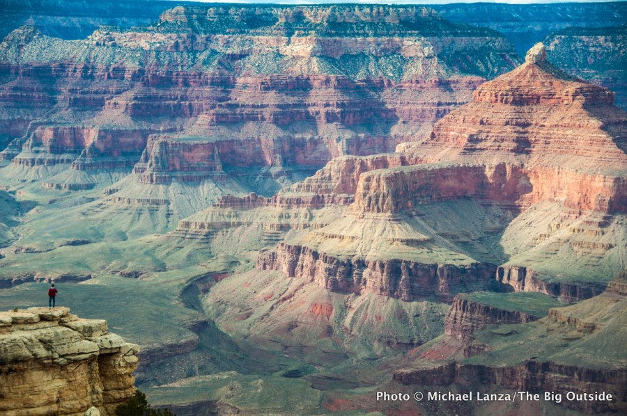 A hiker on the South Rim of the Grand Canyon.