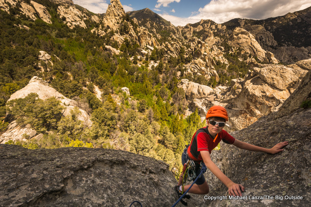 Teenager rock climber at Idaho's City of Rocks National Reserve.