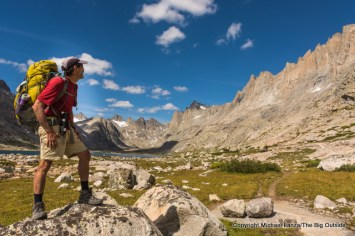 A backpacker in Titcomb Basin, Wind River Range, Wyoming.