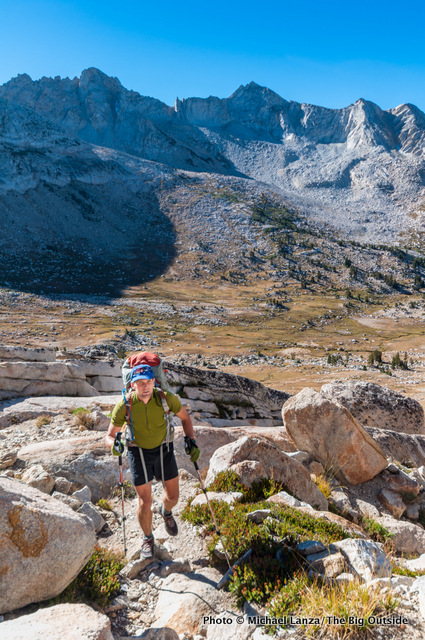 A backpacker hiking to Burro Pass in Yosemite National Park.