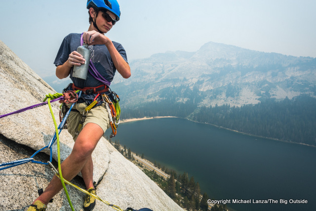 Young rock climber on Stately Pleasure Dome in Yosemite National Park.