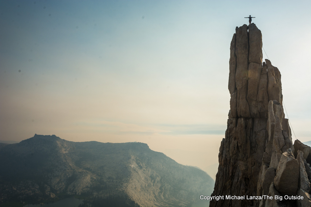 A rock climber atop Eichorn Pinnacle in Yosemite National Park.