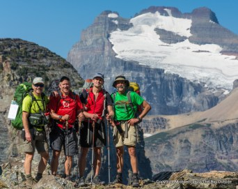 Backpackers near Redgap Pass in Glacier National Park.