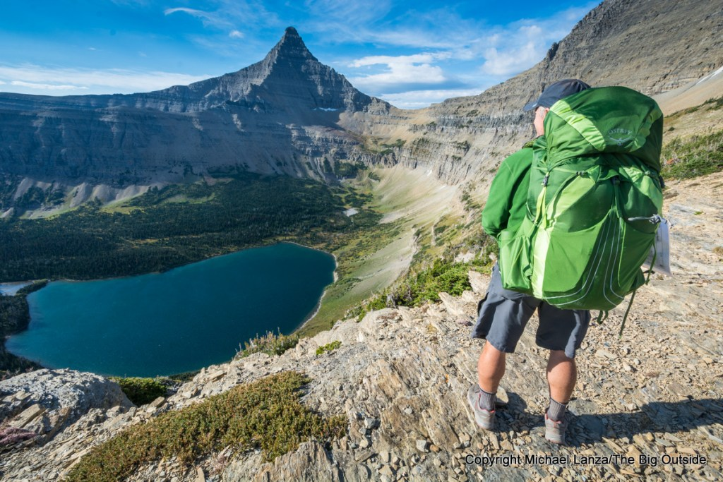 The Osprey Exos 58 backpack in Glacier National Park.