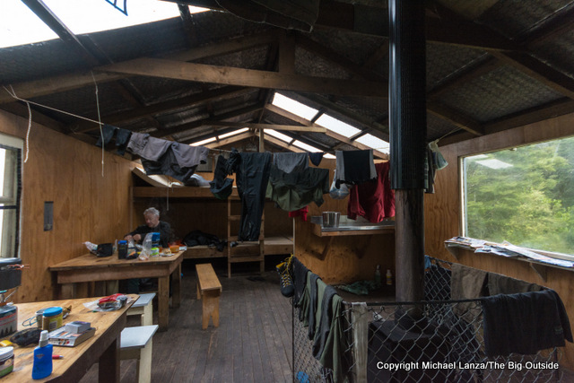 Inside the Loch Maree Hut on the Dusky Track in New Zealand's Fiordland National Park.