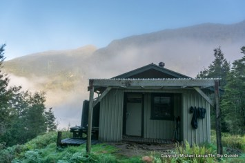 Loch Maree Hut on the Dusky Track, Fiordland National Park, New Zealand.