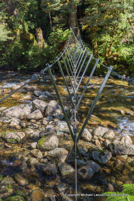 A walkwire on the Dusky Track, Seaforth River Valley, Fiordland National Park, New Zealand.