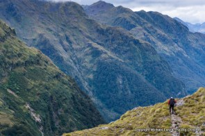A trekker descending from Centre Pass on the Dusky Track, Fiordland National Park, New Zealand.