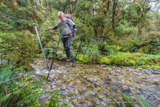A walkwire on the Dusky Track in the Spey River Valley, Fiordland National Park, New Zealand.