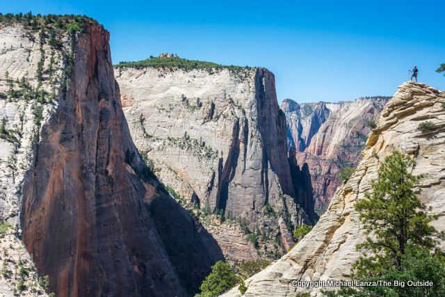 A hiker on the Observation Point Trail in Zion National Park.
