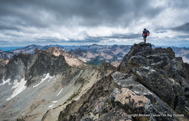 A hiker on Horstman Peak in Idaho's Sawtooth Mountains.