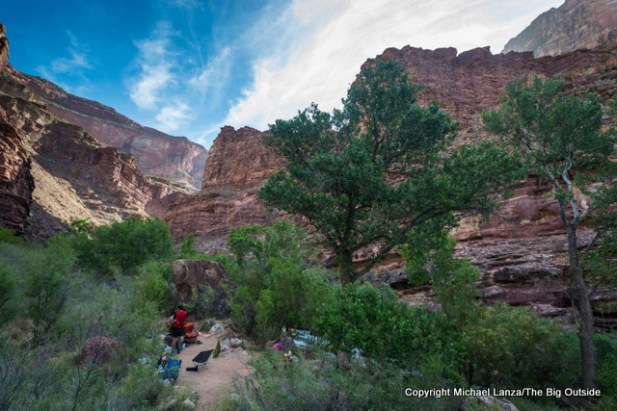 Camp AW7 on Tapeats Creek in the Grand Canyon.