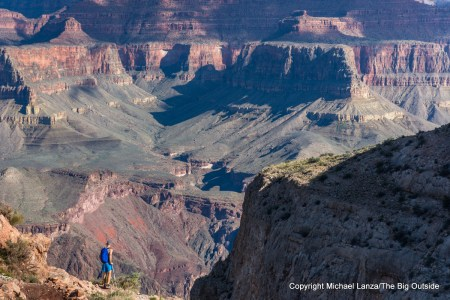 A hiker near Skeleton Point on the South Kaibab Trail in the Grand Canyon.