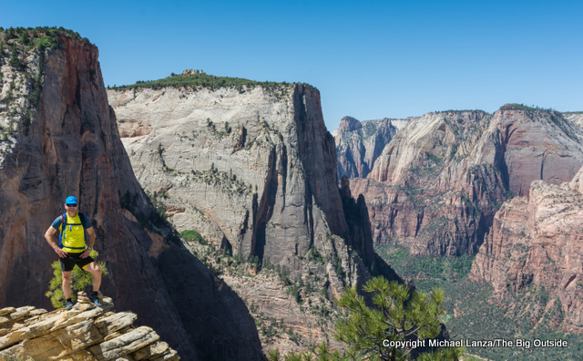 Michael Lanza of The Big Outside hiking the Observation Point Trail in Zion National Park.