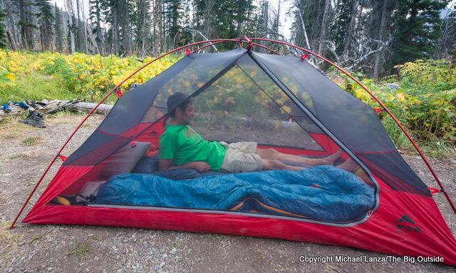 The MSR Zoic 2 tent interior.