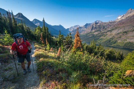 A backpacker above Elizabeth Lake in Glacier National Park.