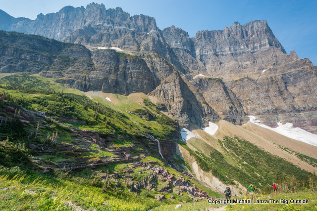 Backpackers on the Piegan Trail Pass below the Garden Wall in Glacier National Park.