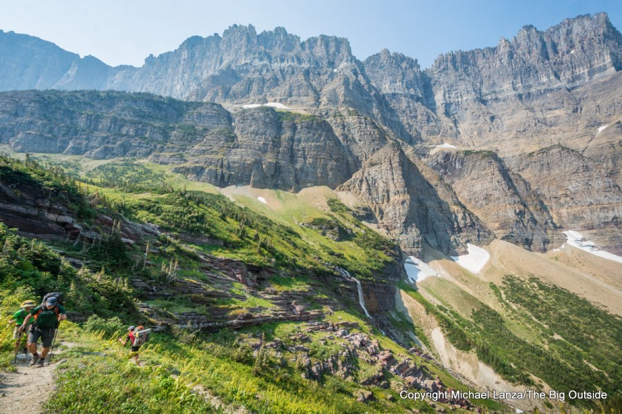 Backpackers on the Continental Divide Trail/Piegan Pass Trail in Glacier National Park.