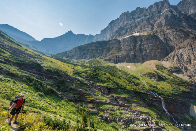 Hiking the Piegan Trail Pass below the Garden Wall in Glacier National Park.