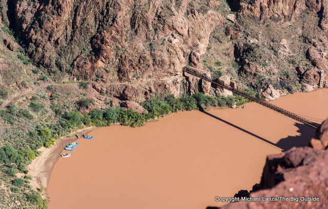 The South Kaibab Trail bridge over the Colorado River in the Grand Canyon.
