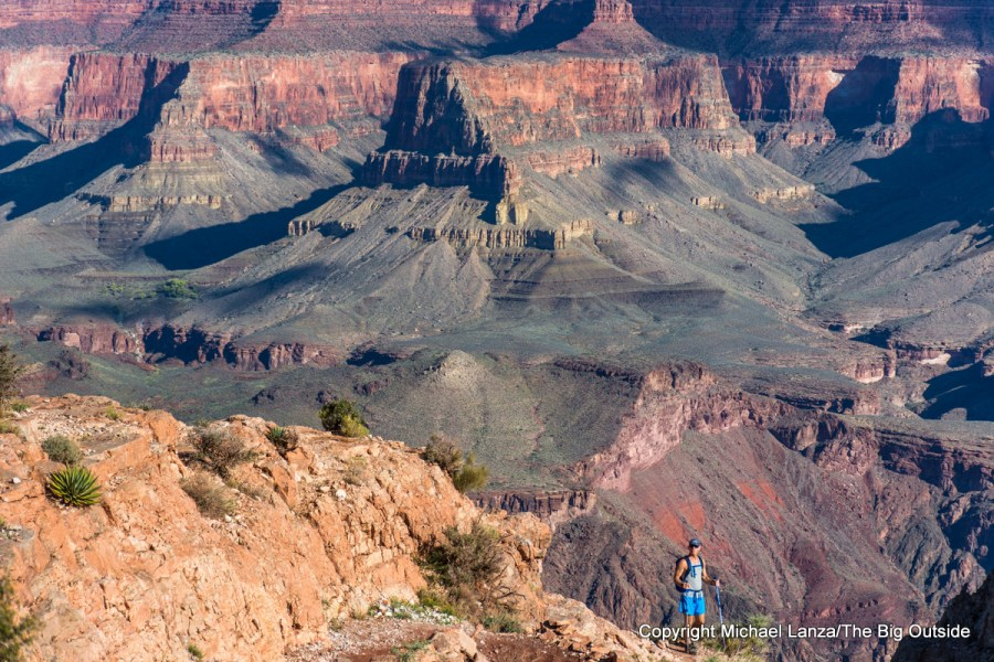 A hiker near Skeleton Point on the South Kaibab Trail, Grand Canyon.