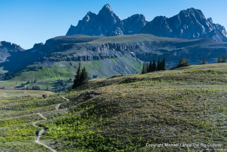 A backpacker on the Teton Crest Trail.