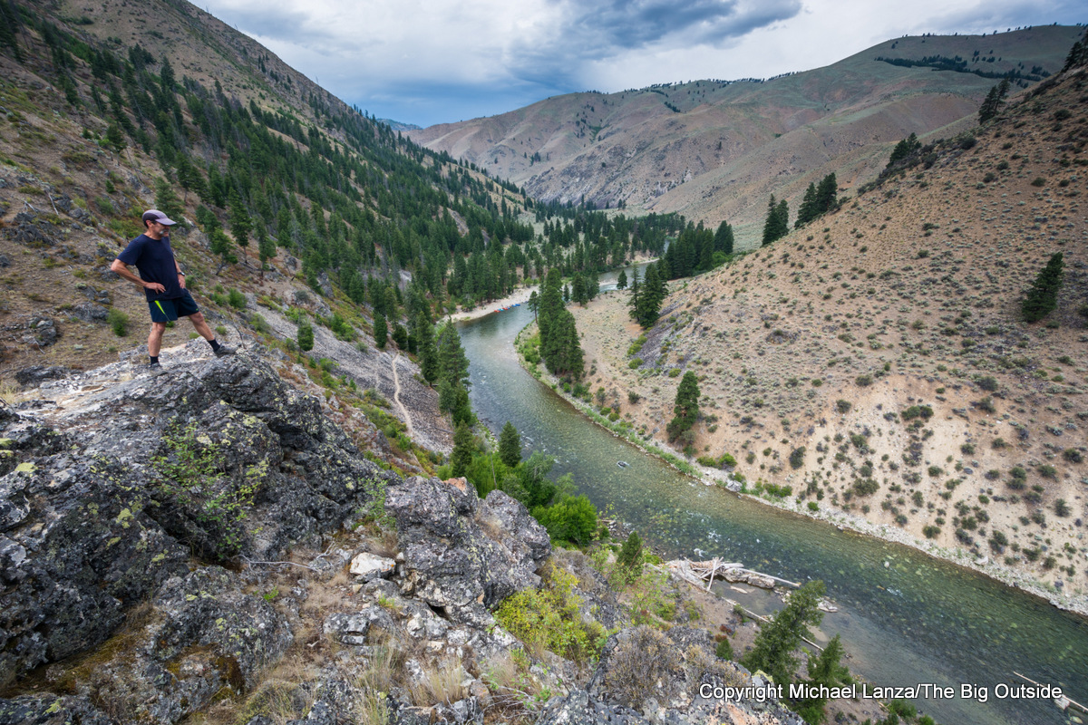 A hiker above Idaho's Middle Fork Salmon River.