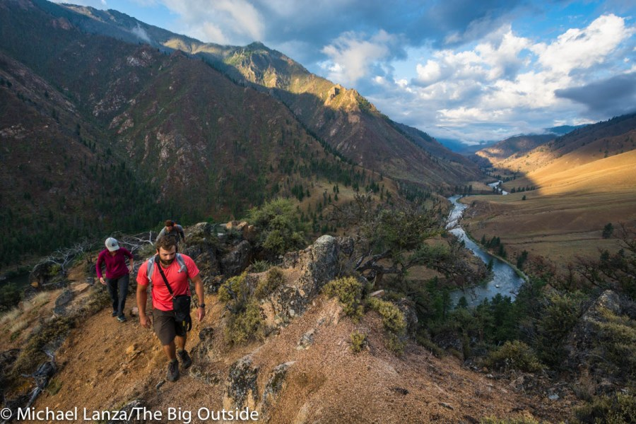 Hikers above the Middle Fork Salmon River in Idaho's Frank Church-River of No Return Wilderness.