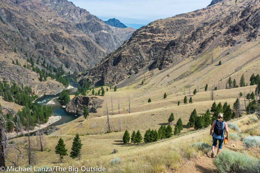 A hiker on Idaho's Middle Fork Salmon River Trail.