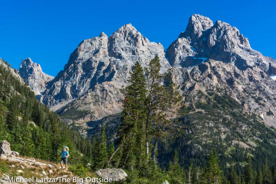 A backpacker in the North Fork of Cascade Canyon in Grand Teton National Park.