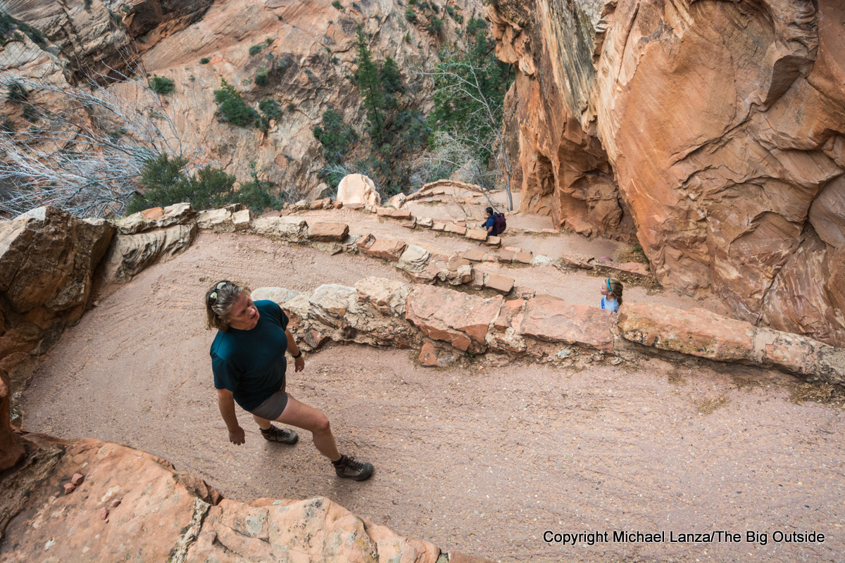 Hikers on Walters Wiggles on the trail to Angels Landing, Zion National Park.