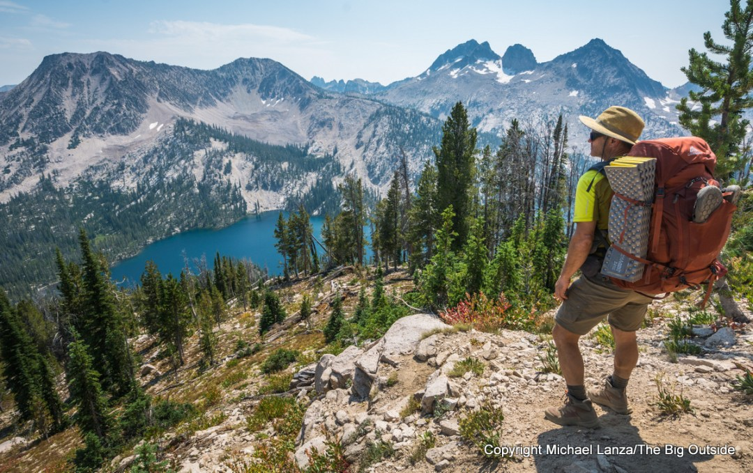 Michael Lanza of The Big Outside testing gear backpacking in Idaho's Sawtooth Mountains.