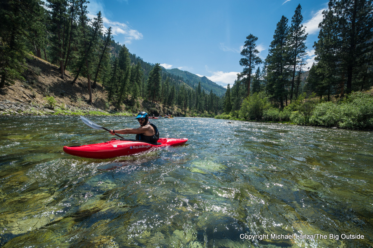 A kayaker paddling Idaho's Middle Fork Salmon River.