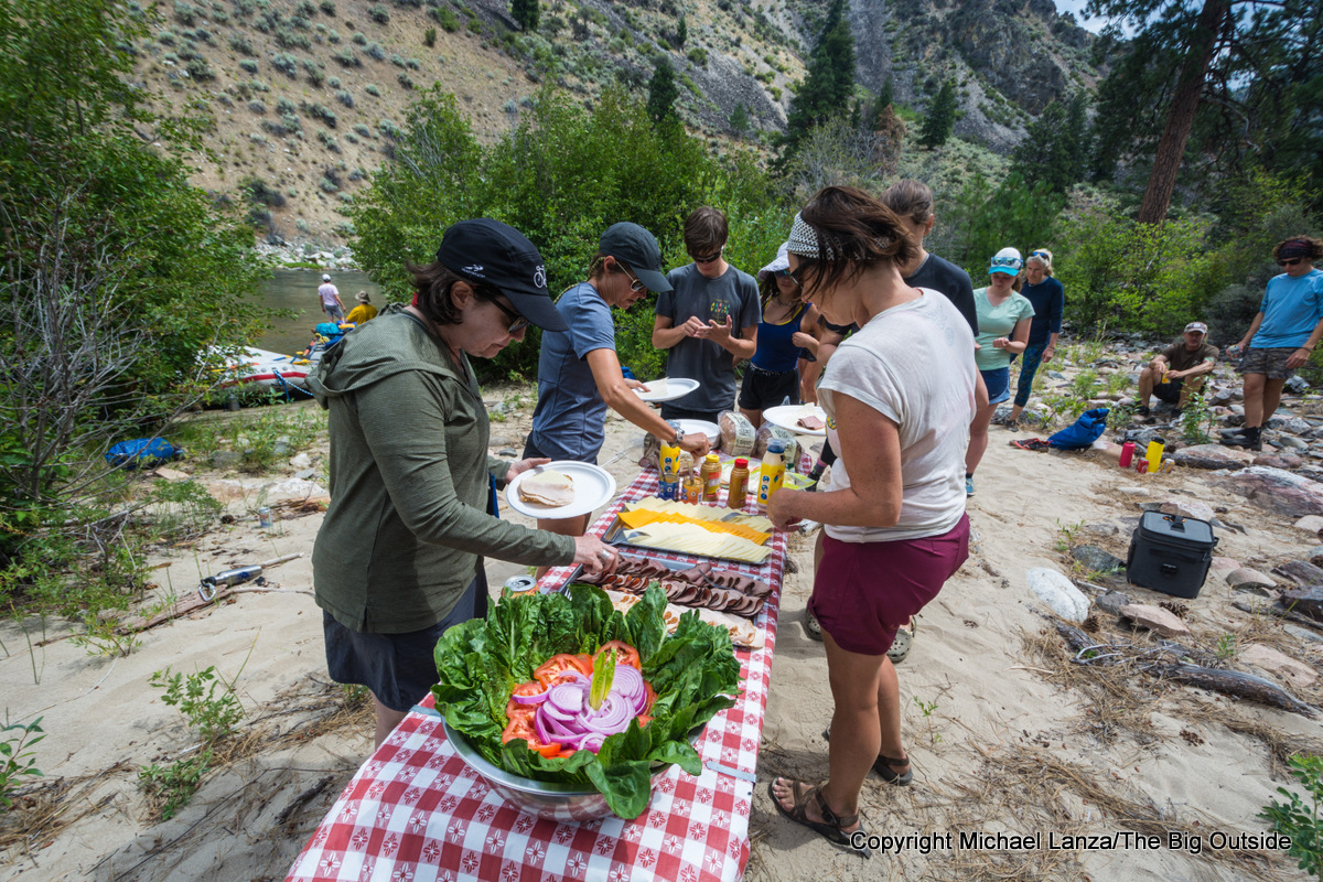 Lunch on Idaho's Middle Fork Salmon River.